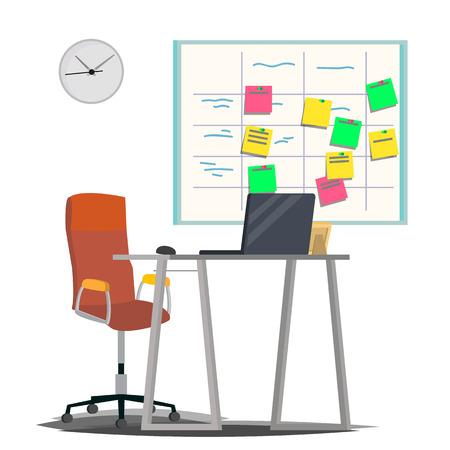 Planning Board Vector. Agile Board. Tasks For Team Development. Full Of Tasks. Flat Illustration