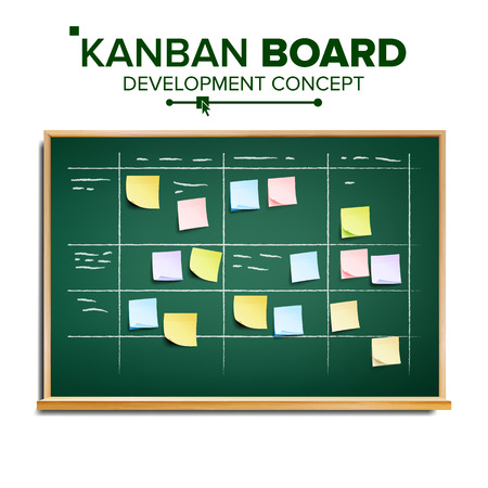 Kanban board Vector. Sticky Notes. Business Working Process Management. Team Planning Iterations. Realistic Illustration Illustration