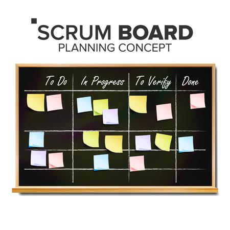 Scrum Task Board Vector. Hanging Scrum Task Board. Startup Development Process. Full Tasks To Do List. Realistic Illustration Çizim