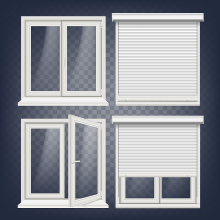 Plastic PVC Windows Set Vector. Different Types. Roller Blind. Opened And Closed. Front View. Home Window Design Element. Isolated On Transparent Background Realistic Illustration