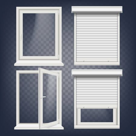 PVC window vector, rolling shutters, opened and closed, front view. Open plastic glass window isolated on transparent background realistic illustration. Banque d'images - 96132282