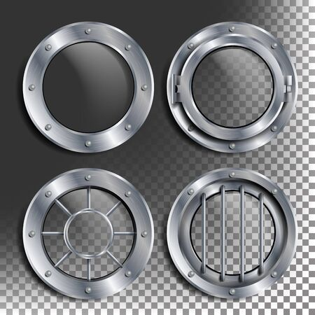 Silver Porthole Vector. Round Metal Window With Rivets. Bathyscaphe Ship Frame Design Element, Rocket, Aluminum. For Laboratory, Aircraft, Submarines. Isolated On Transparent Background Illustration