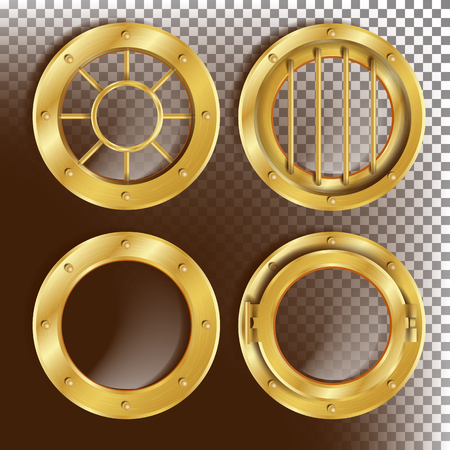 Golden Porthole Vector. Metal Window With Rivets. Bathyscaphe Ship Frame Design Element, Rocket. For Laboratory, Aircraft, Submarines. Isolated On Transparent Background Realistic Illustration