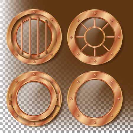 Brass Porthole Vector. Round Metal Window With Rivets. Bathyscaphe Ship Frame Design Element. For Laboratory, Aircraft, Submarines. Isolated On Transparent Background Realistic Illustration
