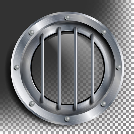 Porthole Vector. Round Silver Window With Rivets. Bathyscaphe Ship Metal Frame Design Element. For Aircraft, Submarines. Isolated On Transparent Background Illustration