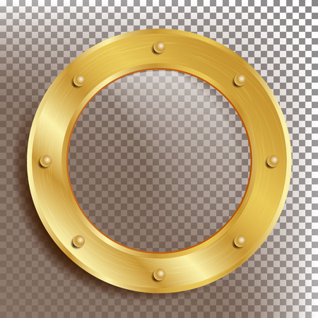 Porthole Vector. Round Golden Window With Rivets. Bathyscaphe Ship Metal Frame Design Element. For Aircraft, Submarines. Isolated On Transparent Background Illustration Vettoriali