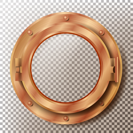 Porthole Vector. Round Brass, Bronze, Copper Window With Rivets. Bathyscaphe Ship Metal Frame Design Element. For Aircraft, Submarines. Isolated On Transparent Background Illustration Vektorové ilustrace