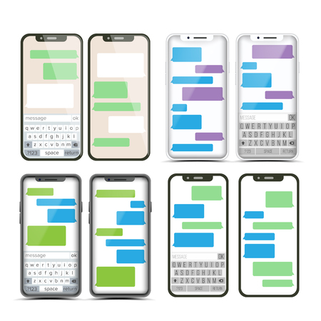 Mobile Screen Messaging Set Vector. Chat Bot Bubbles. Mobile App Messenger Interface. Communication Concept. Smartphone With Chat On Screen. Text Boxes. Notification Icons. Illustration