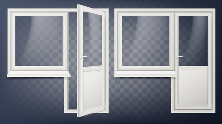 Plastic Door Vector. Home Interior Door And Window. Opened And Closed. Plastic Glass Door. Energy Saving. Isolated On Transparent Background Illustration