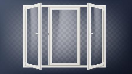 Plastic deur Vector. Kunststof kozijn. Geopende winkeldeur. Gevel van het gebouw. Energiebesparend. Geïsoleerde Illustratie Stockfoto - 96234732