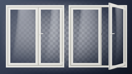 Plastic Glass Door Vector. Opened And Closed. Apartment Element. Isolated Illustration