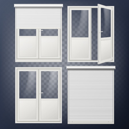 Plastic Glass Door Vector in  White Roller Shutter. Illustration