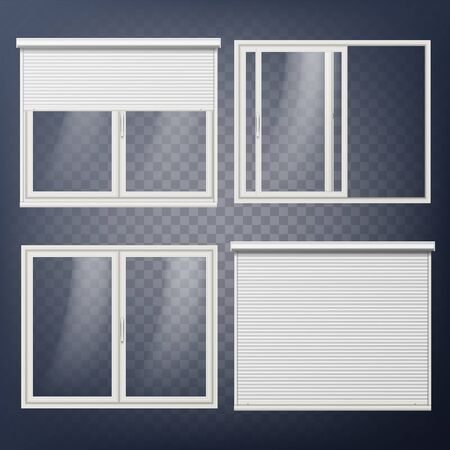 Plastic Door Vector on  Modern White Roller Shutter. Illustration