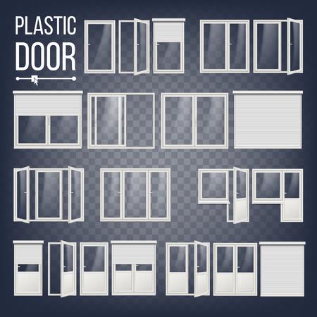 Plastiktür-Vektor auf modernem weißem Rollenfensterladen.