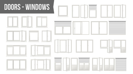 Plastic PVC windows doors set vector. Different types, roller blind shutters, opened and closed. Front view home design element isolated on white background realistic illustration.