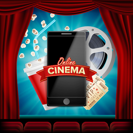 Online cinema vector banner with mobile phone. red curtain. Theater 3d online cinema template for web cite, ads, poster, flyer, poster, film industry illustration.