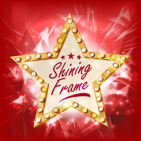 Star Sign Vector. Glowing Element. Retro Light Gold Star Banner. Premiere Film, Show,, Theater Illustration Illustration