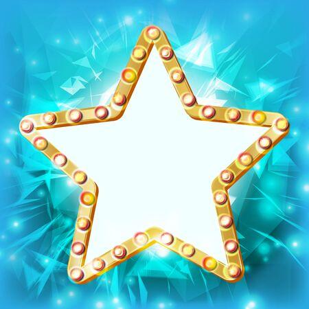 Star Frame Vector. Golden Star Shape With Lights. Award Ceremony, Event Concept. Shine Lamp. Event Illustration Illustration