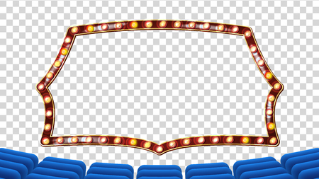 Blue Theater Curtain With Light Frame Vector.