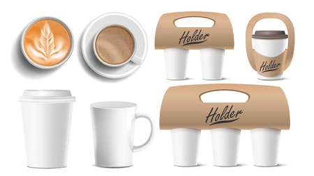 Coffee Packaging Vector. Cups Mock Up. Ceramic And Paper, Plastic Cup. Top, Side View. Cups Holder For Carrying, One, Two, Three Cups. Hot Drink. Take Away Cafe Coffee Cups Holder Mockup. Illustration