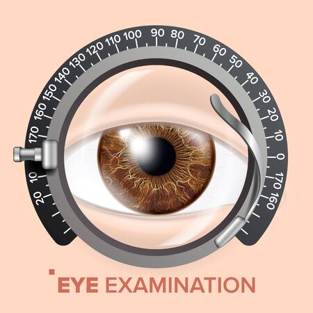 Eye Test Banner Vector. Trail Frame  Diagnostic Equipment  Care Illustration