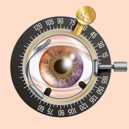 Test Banner Eye. Trail Frame. Attrezzatura diagnostica. Optometrist Check. Illustrazione di cura Archivio Fotografico - 96627318