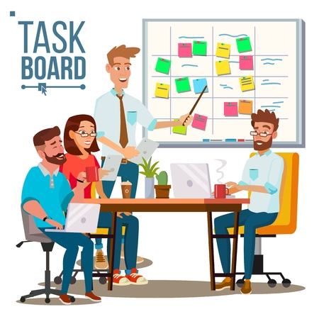 Businessmen Character discussing business strategy on scrum task board