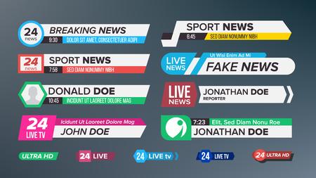 TV Nieuws Bars Set Vector. Teken van lagere derde. live nieuws, Ultra HD. Banners voor het uitzenden van televisievideo. Geïsoleerde Illustratie