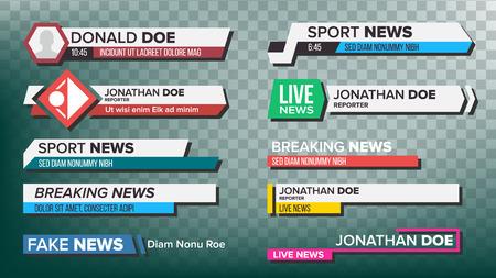 TV News Bars Set Vector. Streaming Video News Sign. Últimas noticias deportivas. Señal de interfaz Ilustración aislada