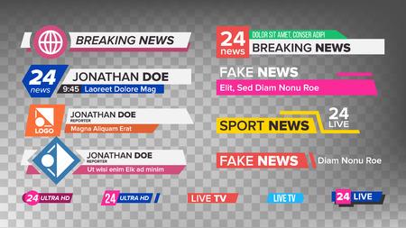 テレビニュースバーセットベクトル。下3番目のサイン。ストリーミングビデオニュースサイン。孤立したイラストレーション