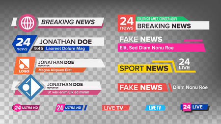 TV News Bars Set Vector. Sign Of Lower Third. Streaming Video News Sign. Isolated Illustration Archivio Fotografico - 96794164