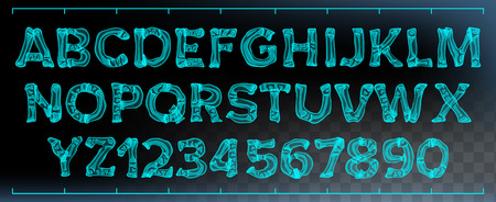 X-ray Font Vector. Transparent Roentgen Alphabet. Radiology 3D Scan. Abc. Blue Bone. Medical Typography. Capitals Letters And Numbers. Isolated Illustration Vettoriali