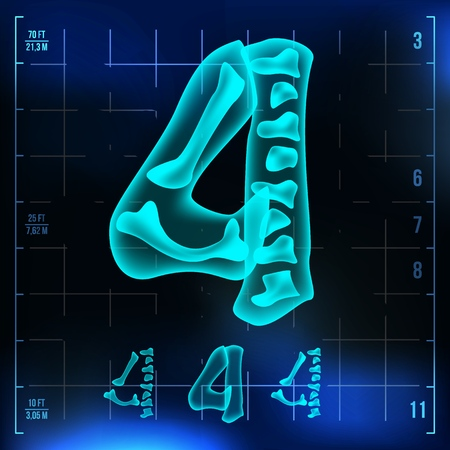 4 Number Vector. Four Roentgen X-ray Font Light Sign. Medical Radiology Neon Scan Effect. Alphabet. 3D Blue Light Digit With Bone. Medical, Pirate, Futuristic Style. Illustration Vettoriali