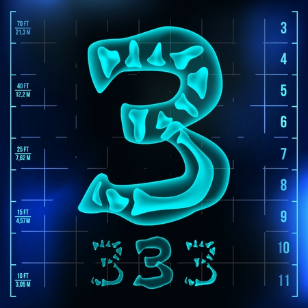 3 Number Vector. Three Roentgen X-ray Font Light Sign. Medical Radiology Neon Scan Effect. Alphabet. 3D Blue Light Digit With Bone. Medical, Hospital, Pirate, Futuristic Style. Illustration Vettoriali
