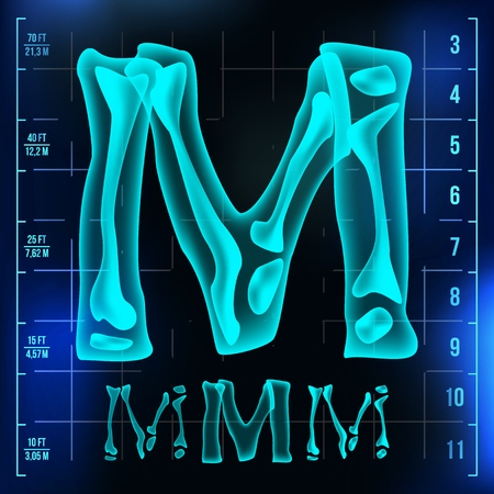 M Letter Vector. Capital Digit. Roentgen X-ray Font Light Sign. Medical Radiology Neon Scan Effect. Alphabet. 3D Blue Light Digit With Bone. Medical, Hospital, Pirate, Futuristic Style. Illustration Ilustrace