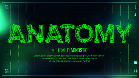 Anatomy Banner Vector. Medical Background. Transparent Roentgen X-Ray Text With Bones. Radiology 3D Scan. Medical Health Typography. Futuristic Technology Illustration