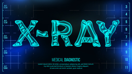 X-ray Banner Vector. Medical Background. Transparent Roentgen X-Ray Text With Bones. Radiology 3D Scan. Medical Health Typography. Futuristic Illustration