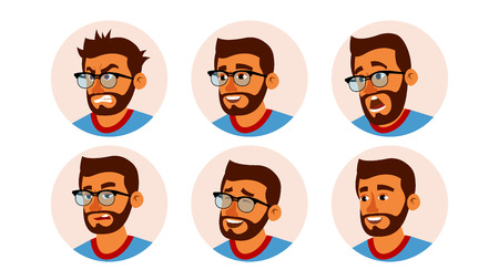 Hindu Character Business People Avatar Vector. Bearded Man Face, Emotions Set. Creative Avatar Placeholder. Cartoon, Comic Art Illustration Ilustracja