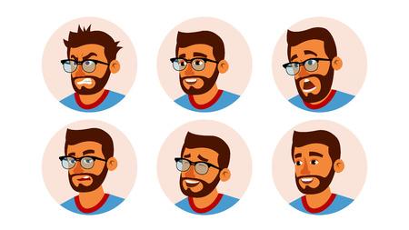 Vecteur d'avatar de gens d'affaires de caractère hindou. Visage d'homme barbu, ensemble d'émotions. Espace réservé Avatar créatif. Dessin animé, illustration de bande dessinée