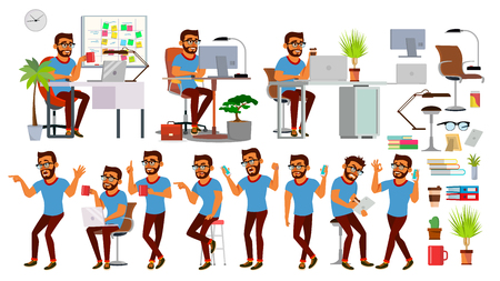 Business Man Character Vector. Working Hindu People Set. Office, Creative Studio. Bearded. Business Situation. Software Development. Programmer. Poses, Emotions. Cartoon Character Illustration