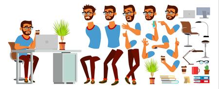 Business Man Character Vector. Working Hindu Male. Business Start Up. Modern Office. Coding, Software Development. Programmer. Animation Set. Bearded Salesman. Face Emotions. Cartoon Illustration Illustration