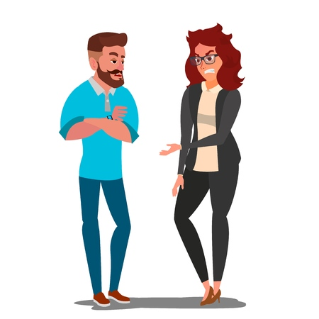 Quarrel Man And Woman Vector. Office Workers Characters Conflict. Disagreements. Negative Emotions. Quarreling People. Angry People. Shouting. Dispute. Cartoon Illustration Illustration