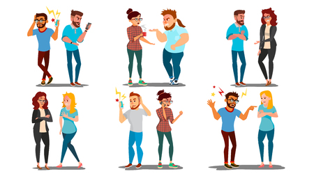 Quarrel People Set Vector. Concept Office Workers, Wife Husband Relationship Characters. Conflict. Disagreements. Negative Emotions. Quarreling People. Angry Colleagues. Shouting. Cartoon Illustration
