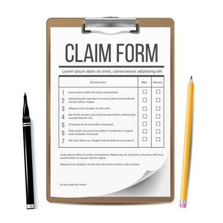 Claim Form Vector. Business Document. Accident Snd insurance Concept. Realistic Illustration Ilustração