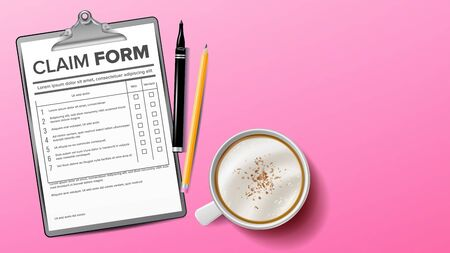 Claim Form on Clipboard. Life Planning. Coffee Cup, Pencil. Background. Realistic Illustration on pink background. 向量圖像