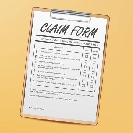 Claim Form on Clipboard. Realistic Illustration on yellow background. Illustration