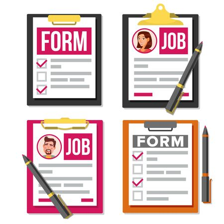 Business Forms and Documents. Flat Cartoon Illustration
