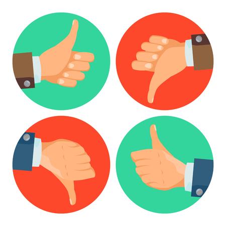 Hand gestures set icons. Flat Cartoon Illustration Illustration