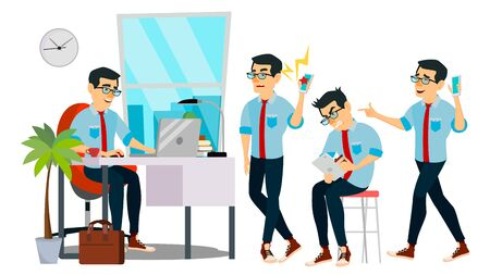 Business Man Character Vector. Working Asian Male. IT Startup Business Company. Environment Process. Developer. Asiatic Full Length. Programmer. Software. Flat Cartoon Business Character Illustration