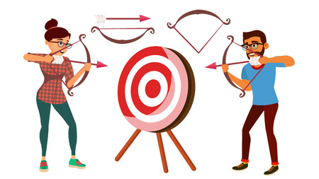 Archery Concept Vector. Woman And Man Shooting From A Bow In A Target. Archery Player Aiming At Target. Sport, Challenge, Leisure. Arrow. Flat Cartoon Illustration